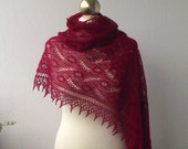 CHRISTMAS SALE 15% OFF, Dark Red hand knitted alpaca lace stole with nupps