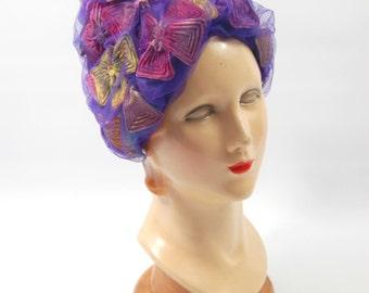 Reserved 60s Christian Dior Purple Turban Hat // Butterfly Hat // Dior Chapeaux // Marshall Field and Co