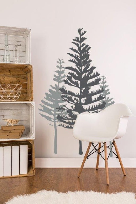 Rustic Tree Wall Decor : Tree wall decal rustic decor woodland pine