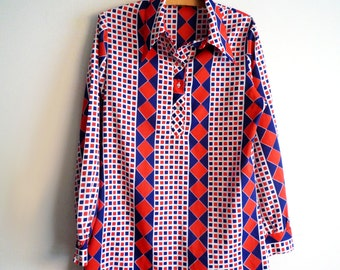 1970s Red White and Blue Graphic Print Long Sleeve Blouse, SALE