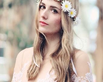 white daisy wedding flower bridal hair accessory white hair wreath silk headpiece, flower for hair, silk flower, flower for hair