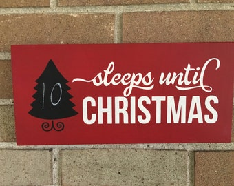 "Christmas Countdown Sign/Sleeps Until Christmas/Wood Sign/Christmas Decor/Christmas Tree/Decorate For Christmas/DAWNSPAINTING/12""x6"""