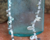 Dainty Solar Quartz Briolette Necklace Teal and Snowy White Teardrops with Labradorite and Quartz Crystals Shimmer Summer Bridal Jewelry