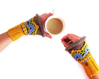Lolita Wrist Cuffs - Fingerless Gloves. Wrist Warmers, Colorful Mittens, Knitted of Merino Wool