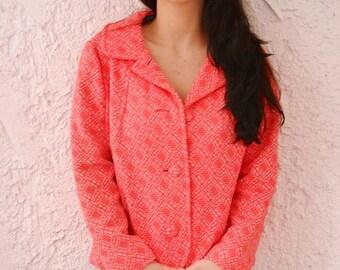 Vintage 1960s Mid Century Statement Jacket - Neon Coral Pink
