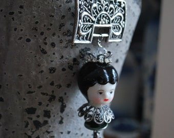 Frozen charlotte princess wearable art pendant necklace with dancing teddy bear charm