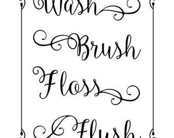Wash Brush Floss Flush vinyl wall bathroom decal