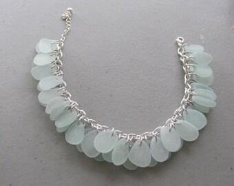Seaglass Link Bracelet Jewelry, Sea Glass Bracelet, Chain Bracelet, Beach Glass Jewelry, Genuine Sea Glass, Beach Jewelry