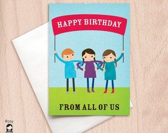 Happy Birthday from All of Us - Group Birthday - Birthday Greeting Card from Group