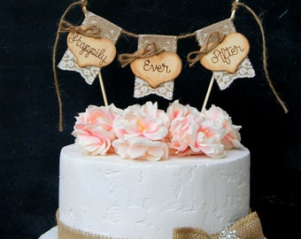 Happily Ever After Cake Topper Burlap & Lace Bunting Flags Banner Wood Hearts Rustic Country Shabby Chic