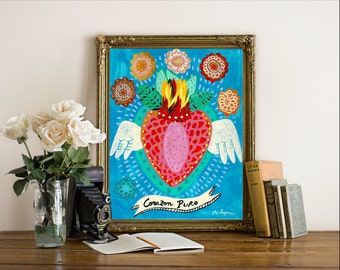 Corazon Puro - Fine Art Print, painting heart, mexican, bohemian, folk, funky, naive, mexico, tattoo.