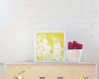 Yellow Bunny 9 Inch signed paper Silk Screened Art Print on white Paper