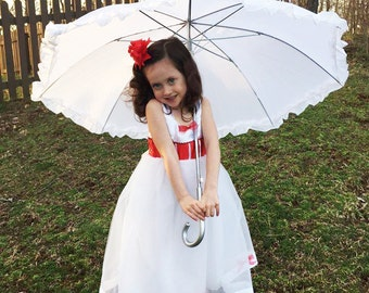 Mary Poppins Tutu Dress: costume, dress up, tea party, red and white, bows, birthday party, adjustable, meet & greet, parks trip, halloween