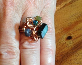 Black Mother of Pearl Ring size 7