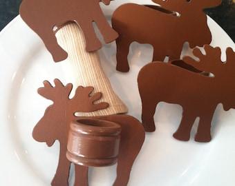 Brown Moose Napkin Rings - Wooden - Set of 4 - Mountain Cabin Decor