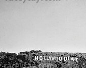 Black & White Photography, Hollywoodland Sign, Retro, Los Angeles Print, California Prints, Vintage, 40s 1940s