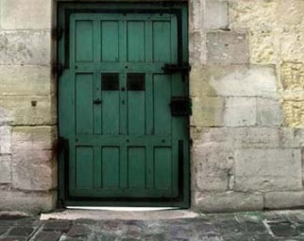 Paris Print, Green Door, Gray, Green, Rustic, Industrial, Architecture, Paris Photography Large Wall Art