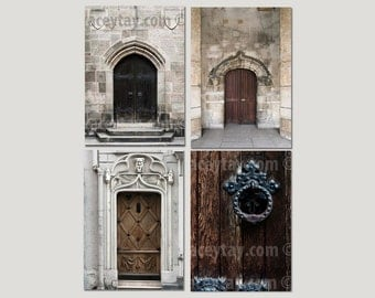 SALE, Paris Door Prints, Rustic Wall Art, Brown, Black, Gray, Doors, Travel Photography, Paris Wall Decor, Set of 4 Prints