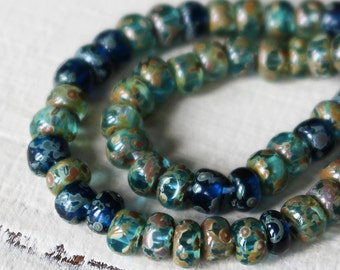 Size 6/0 - 3 Cut Aged Picasso Seed Beads - Jewelry Making Supply - Transparent Aqua Blue Azure Picasso finish - Choose Amount