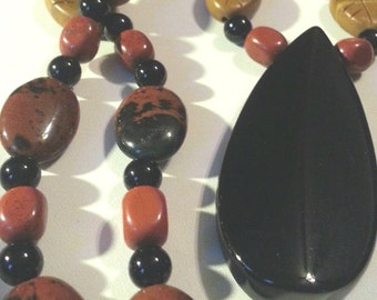 Big chunky Natural stone necklace Onyx Jasper Jade one of a kind