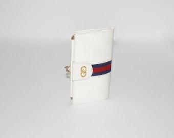 GUCCI Vintage White Leather Web Wallet Monogram Coin Clutch - AUTHENTIC -
