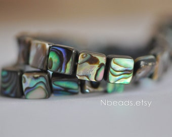 """Abalone Shell Square beads 8mm Two-Sided Paua Shell beads (V1246)/ 16"""" Full strand"""