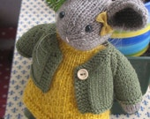 Little Bunnykin  Lovely knitted bunny rabbit doll with cardigan