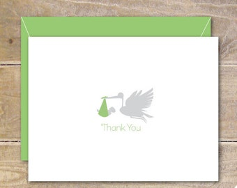 Baby Thank You Cards, Stork, Stork Cards, New Baby, Baby Announcements, Birth Announcements, Thank You Cards  - Storke Delivery Thank You