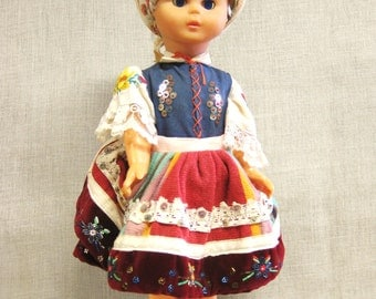 Vintage Female Souvenir Doll, European Costume, Large , Poland, Traditional, Dress, Collectible Toys, Standing, Apron, Girl, Mid-Century