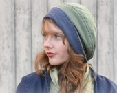 Slouchy Beanie Hat in Blue and Green