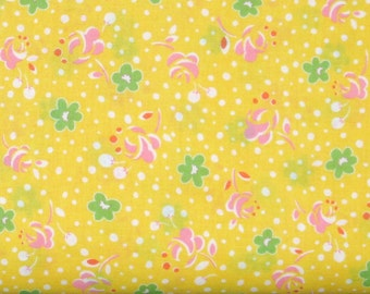 Green & Pink Flowers with White Dots on Yellow 1930's Reproduction 100% Cotton Quilt Fabric, Lecien's Retro 30's Child Smile, LEC31143-50