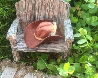 Miniature Cowboy Hat, Brown Leather With Feather, Dark Brown, Dollhouse Scale 1:12 Miniature