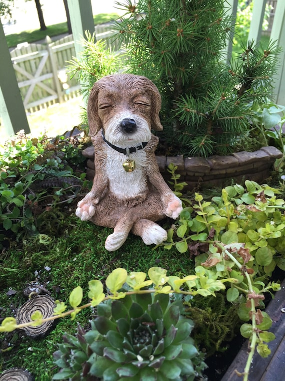 Dog in Meditation Figurine, Yoga Position Dog Figurine, Fairy Garden Accessory, Garden Decor, Topper, Shelf Sitter