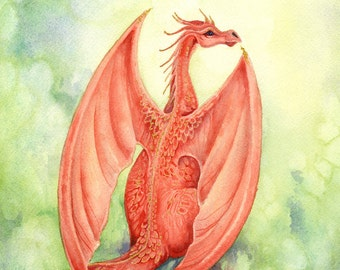 Dragon Art Print - Vermillion - fantasy. red. crimson. whimsical. creature. wings. brilliant.