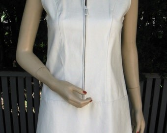 """Vintage 60s White Leather Mod """"Go Go""""  Dress with Zipper Front by Russ, Small"""
