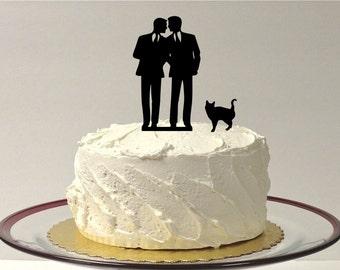 MADE In USA, Gay Wedding Cake Topper + CAT Same Sex Mr & Mr Cake Topper Gay Cake Topper Gay silhouette Homosexual Wedding Cake Topper Men