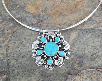 Turquoise Floral Necklace in Fine Silver. Designer Cabochon Jewelry for Charity. Handmade Art Jewelry. NC113