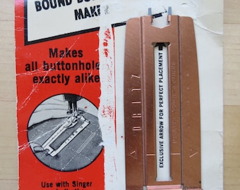 1960s Dritz Bound Buttonhole Maker No. 556 with Instructions - For use with sewing machine