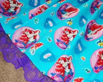 Under the Sea with Ariel Teal Skirt WITH LACE for Girls Toddler to Pre-Teen Custom Size
