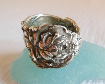 Antique Spoon Ring  Sterling Silver  Rose    Size 6