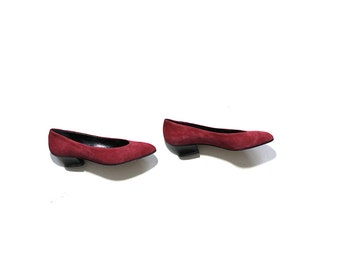 sale Vintage Suede Pumps 8 / Italian Leather Heels / Minimalist Heels