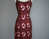 Vintage Night Shade MARSALA SEQUIN Lace Trophy Cocktail Party Dress (m)