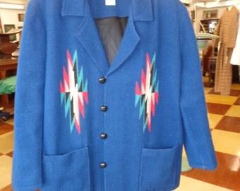 Vintage 1950's Ortega MENS CHIMAYO JACKET Royal Blue Size xxL