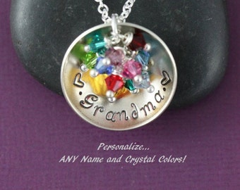 Grandma Necklace Grandma Gift • Personalized Grandma Jewelry • Birthstone Necklace Grandmother Gift Nana Birthstone Month Birth
