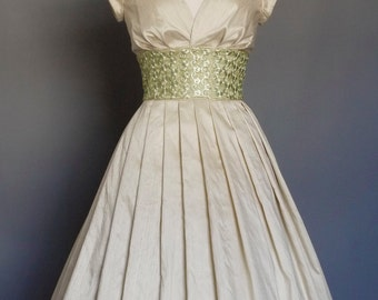 Champagne Silk Dupion and Pale Apple Lace Tea Length Wedding Dress - Made by Dig For Victory
