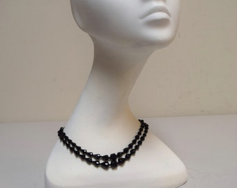 "VINTAGE Black Jet Bead 2 Strand 15"" Necklace Wreath Brooch & Clip Earring Set"