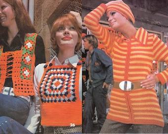 Vintage Boho 70s Knitting Crochet patterns magazine 26 Patterns Knickerbocker Suit Tank Tops Sweaters Crochet Dress Granny Squares Bags Caps