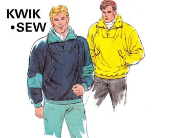 80s Mens Sweatshirts Pattern Kwik Sew 1726 Vintage Sewing Pattern Stretch Pullover Jackets Sizes S - XL UNCUT Factory Folded