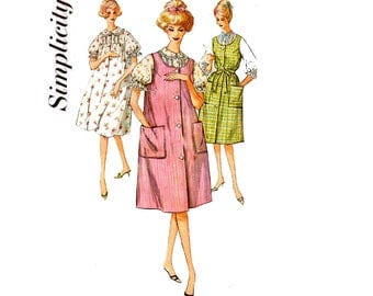 Simplicity 3739 Womens Nightgown or Sleeveless Duster Dress 60s Vintage Sewing Pattern Size 12 Bust 32 inches