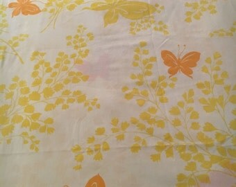 Vtg Twin Flat Sheet - Yellow and Orange Butterflies - Springmaid